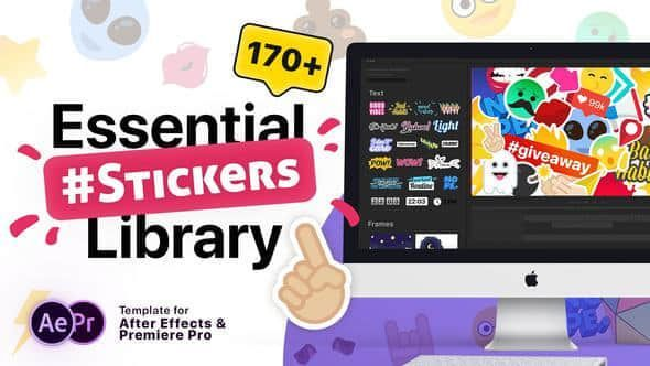 Essential Stickers Library - AE模板-卡通表情Essential Stickers Library