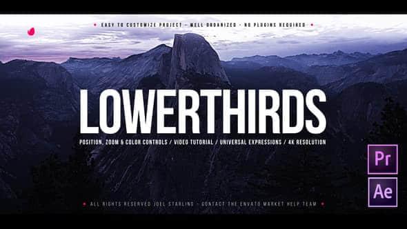Lower Thirds 2 - AE模板-16个大气简洁标题字幕条动画 Lower Thirds v2