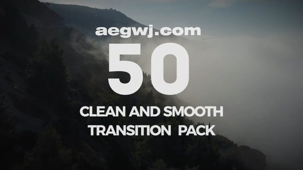 aegwj水印模板 10 - PR模板-50组图形动画视频转场 50 Clean Transition Pack - Premiere Pro Templates