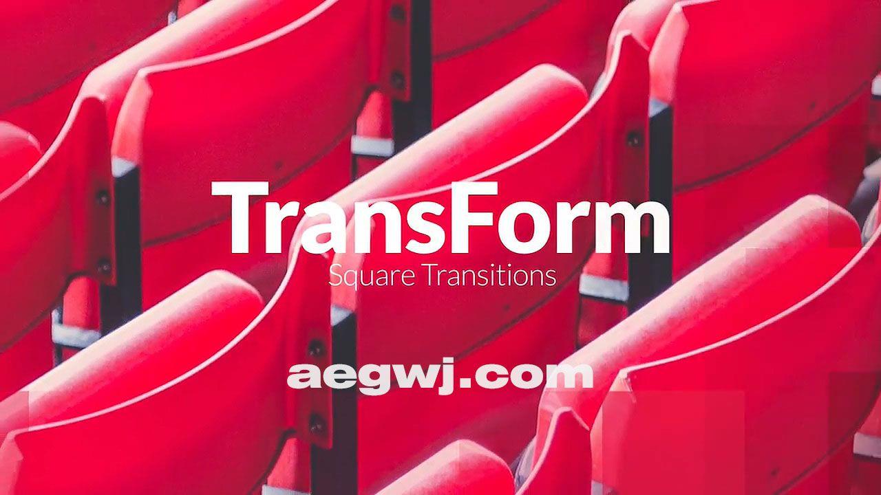 aegwj水印模板 13 - Pr模板-方块图形遮罩视频转场 TransForm - Square Transitions