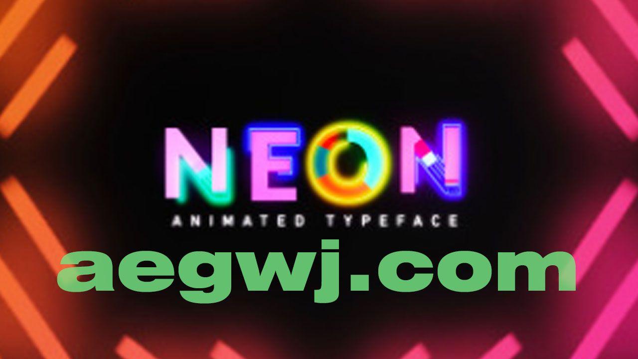 aegwj水印模板 130 - NEON:免费动画文字字体 - 36个免费运动图形元素