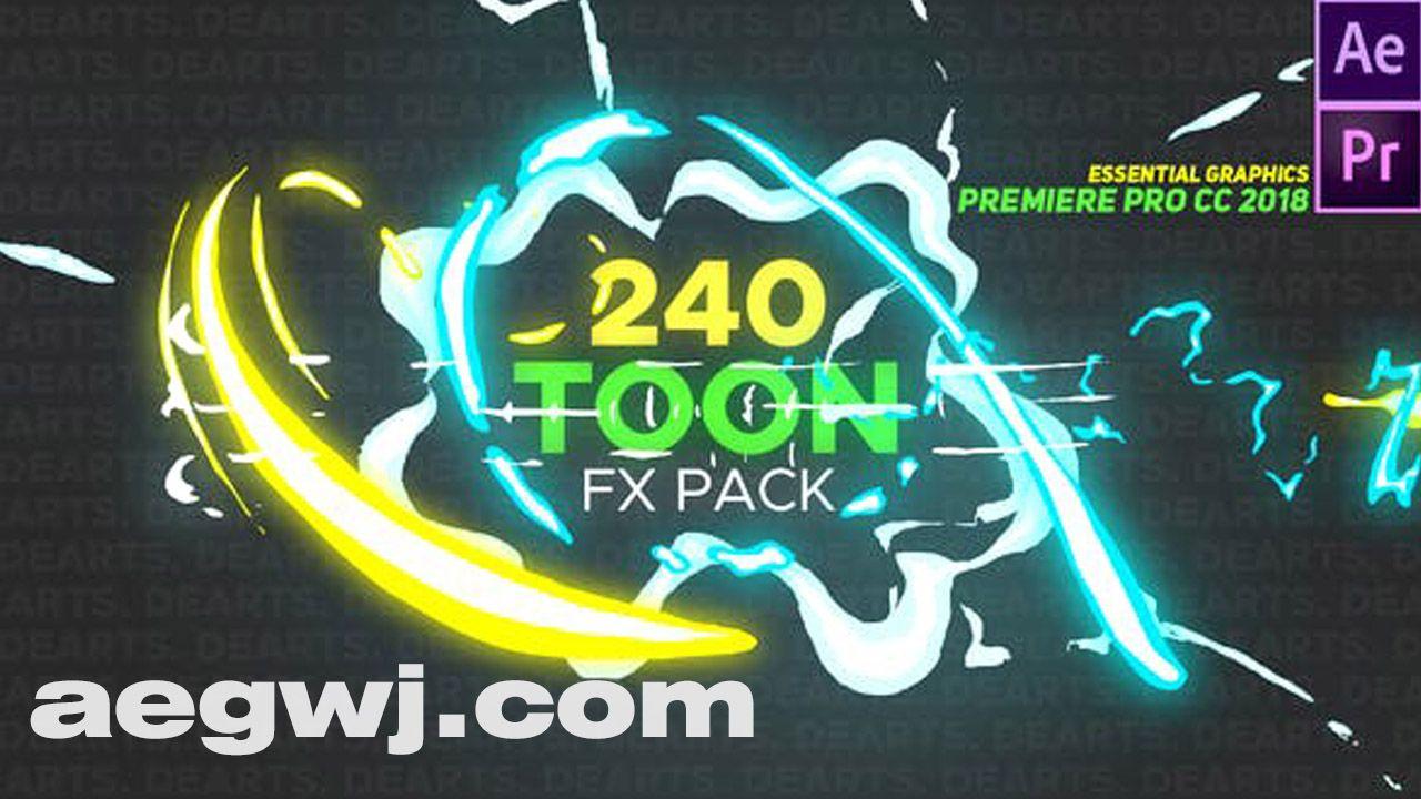 aegwj水印模板 153 - 纯AE制作240组卡通手绘能量火焰闪电烟雾MG动画工程+Premiere模板预设