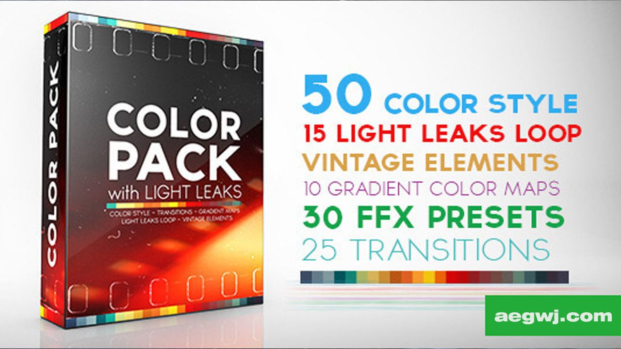 aegwj水印模板 170 - AE模板 调色好助手工具 50种色彩风格 15组漏光效果 30组FFX预设文件