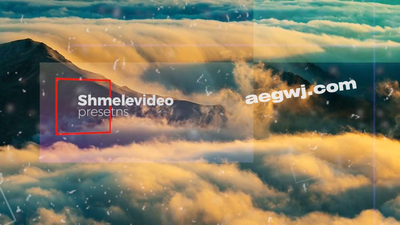 aegwj水印模板 27 - 方块拼贴图片展示PR模板 Cinematic Slideshow - Premiere Pro Templates