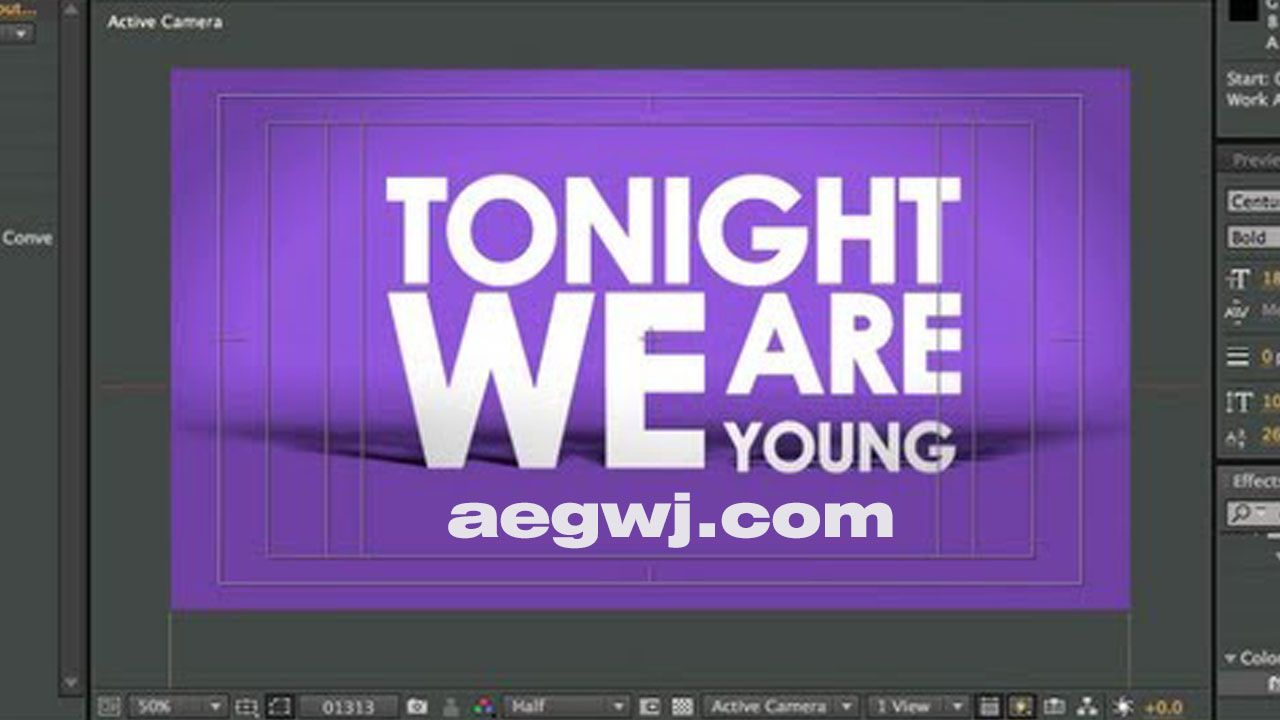 aegwj水印模板 87 - AE制作霓虹文字动画Neon Text Animation in After Effects