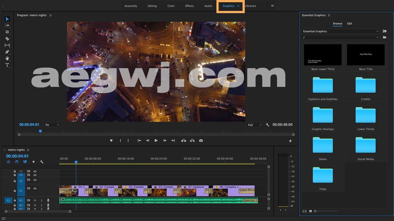 aegwj水印模板3 - Pr基本图形板块教程 premiere-pro-cc-essential-graphics