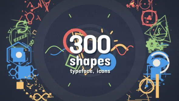 300Shape Elements 1 - AE模板-300组卡通创意图形MG动画元素设计包转场图标文字标题效果