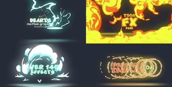Toon FX Pack  - AE模板工程制作卡通流体动画火焰闪电水烟雾可以二次修改