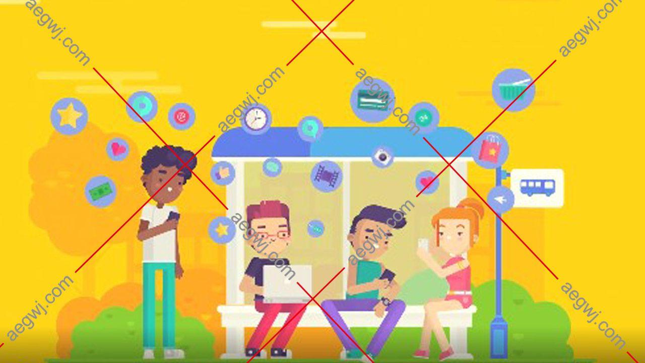 aegwj水印模板 14 - AE模板互联网公司介绍片头网络社交网站演示解说分析MG动画