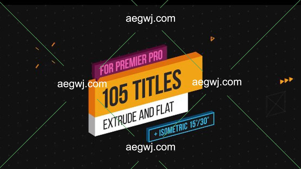 aegwj水印模板 18 - PR预设制作130种效果三维挤出等距文字标题设计Premiere字幕动画下载
