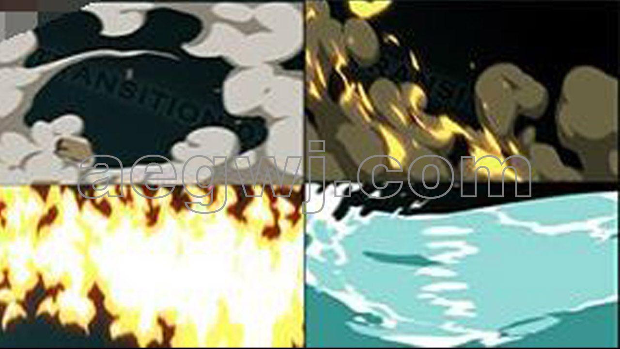 aegwj水印模板 26 - AE模板制作工程FX卡通手绘风烟雾火花水雷电手闪光MG图形动画元素