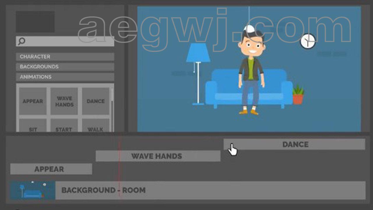 aegwj水印模板 28 - 可爱小卡通人物角色动作场景解说演示MG动画带使用视频教程 AE模板