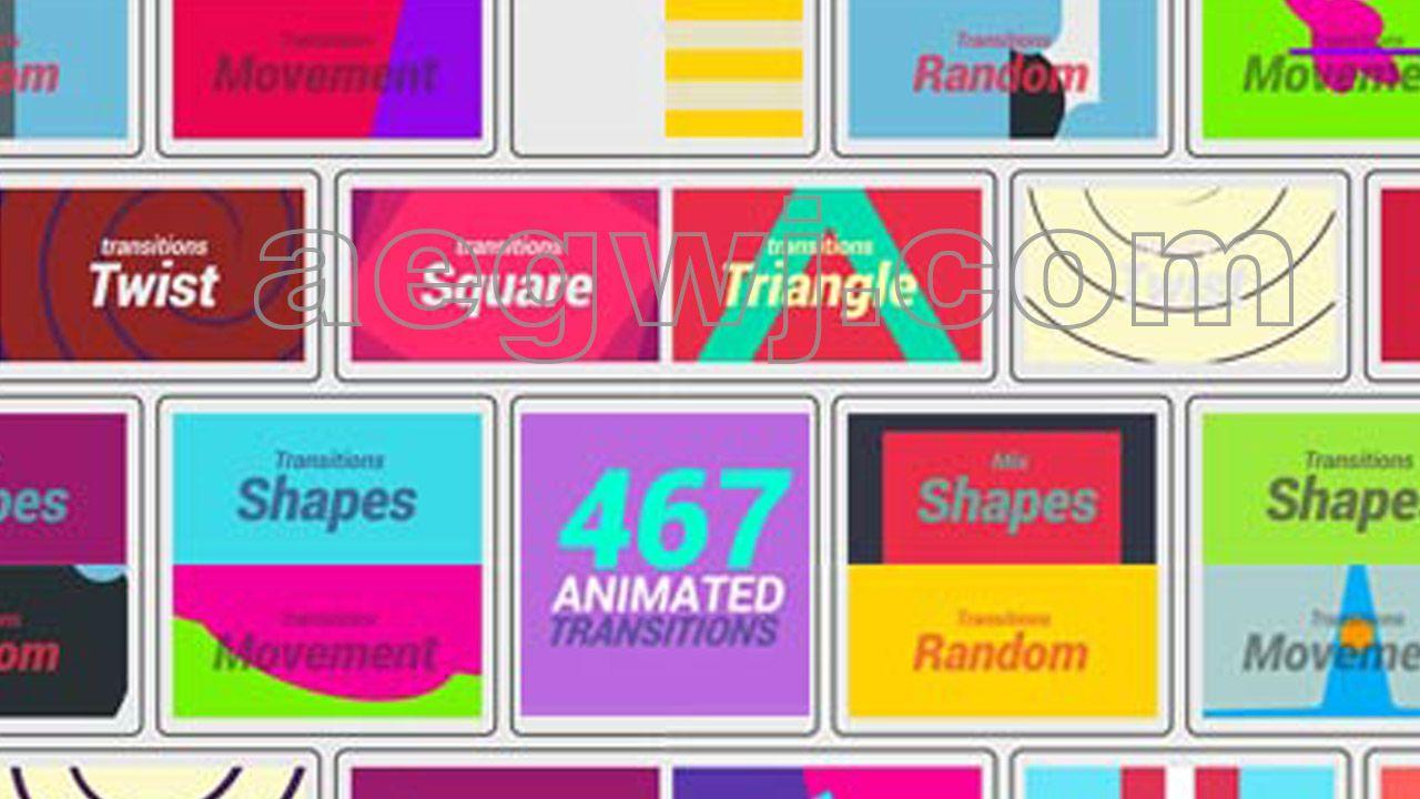 aegwj水印模板 30 - AE模板467种动态图形视频转场MG动画+带GIF效果预览