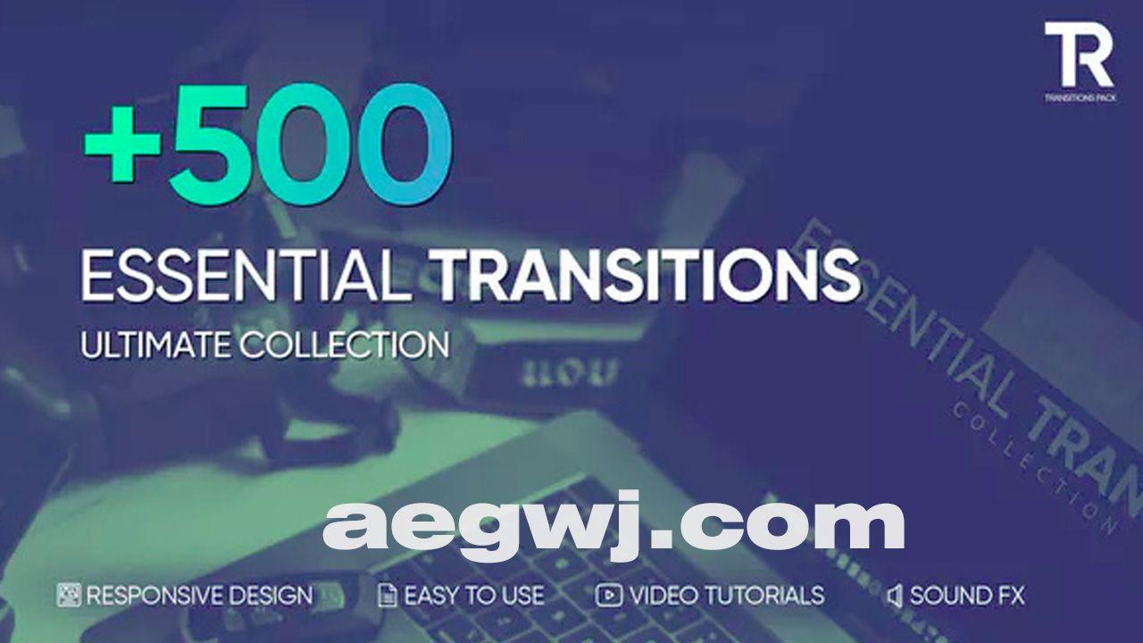 aegwj水印模板 47 - 500种视频转场效果12个分类各种条样效果动画-AE模板下载