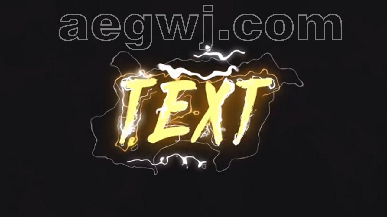 aegwj水印模板 5 - 创意漫画二维MG动画文字标题液体烟雾火焰闪电特效-AE模板