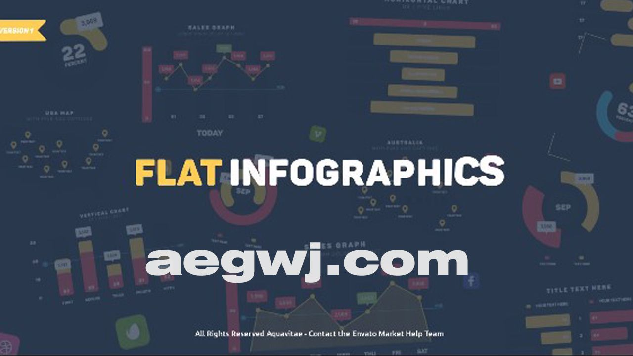 aegwj水印模板 51 - AE模板信息图表设计饼图水平垂直图山地图社交媒体统计分析动画