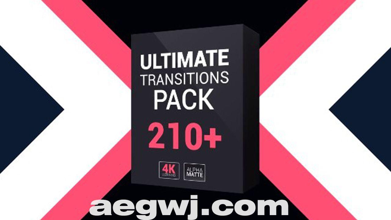 aegwj水印模板 54 - 4K分辨率210种MG过渡图形动画遮罩转场效果工程-AE模板下载