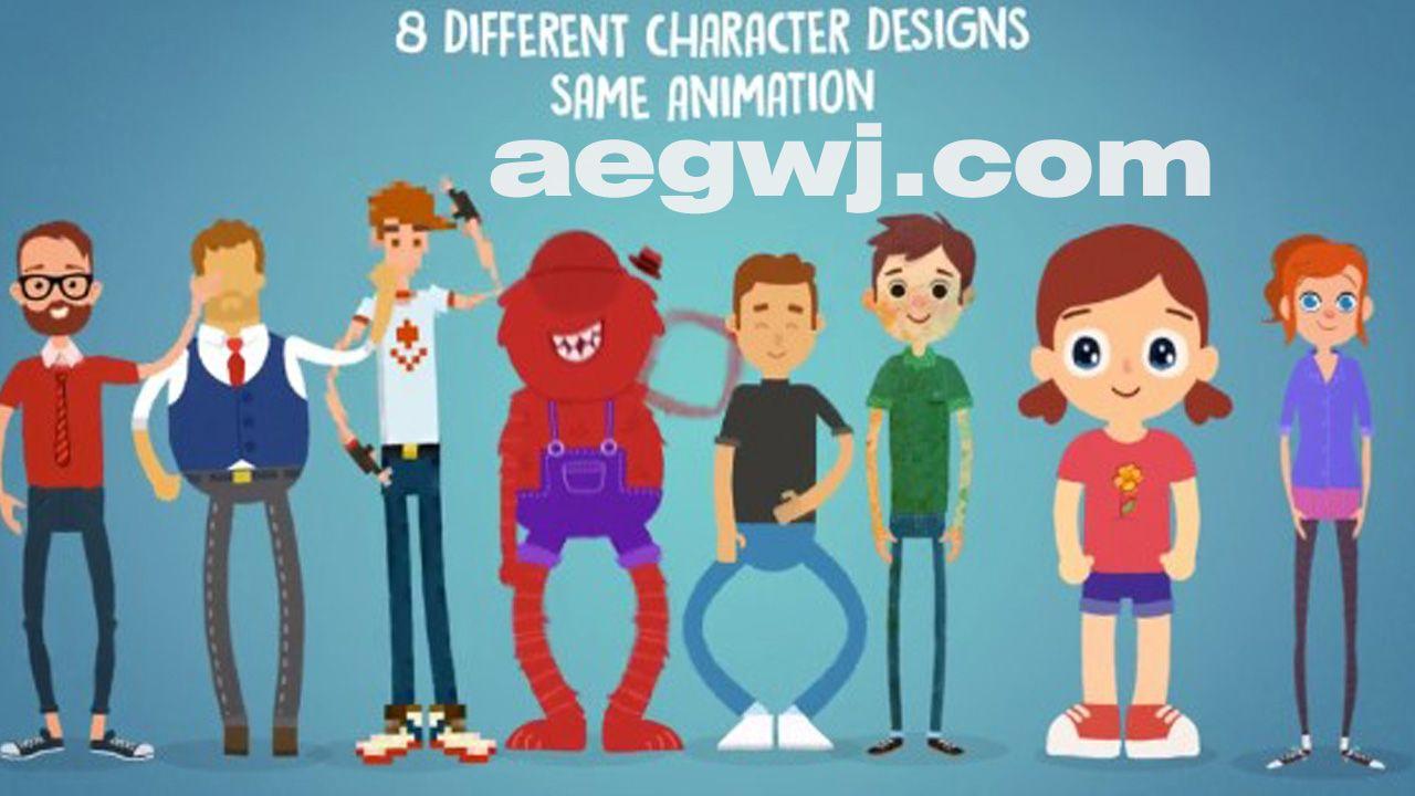 aegwj水印模板 56 - 更新V1.1二维MG动画卡通动漫角色绑人物配动作解说宣传视频AE模板