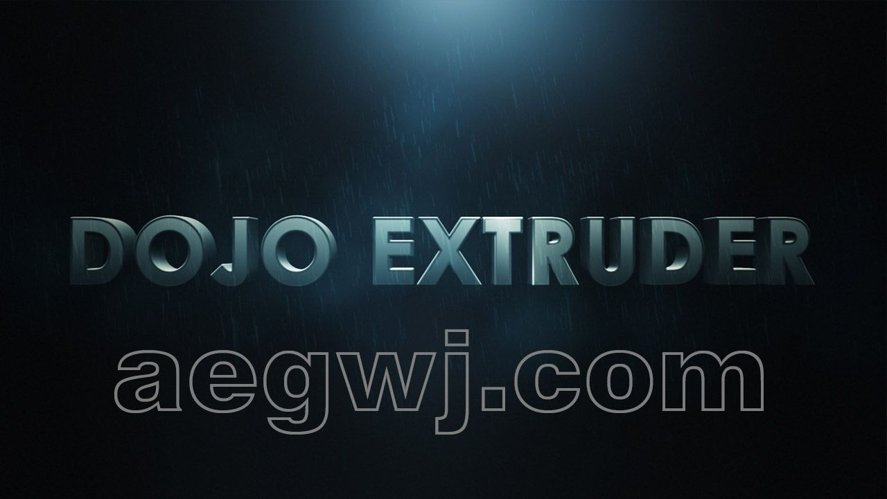 aegwj水印模板 67 - 3D文本创建脚本教程AE Creating 3D Text Using Dojo Extruder Script (FREE)