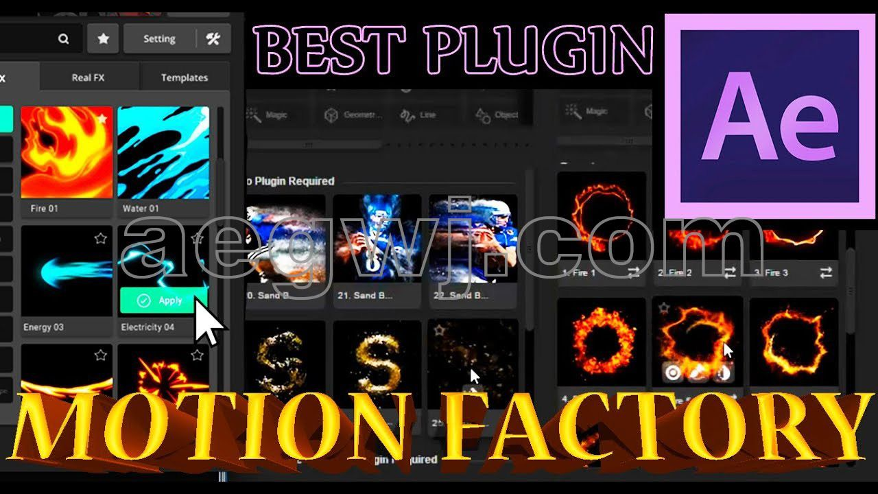 aegwj水印模板 92 - Motion Factory插件的After Effects AE教程