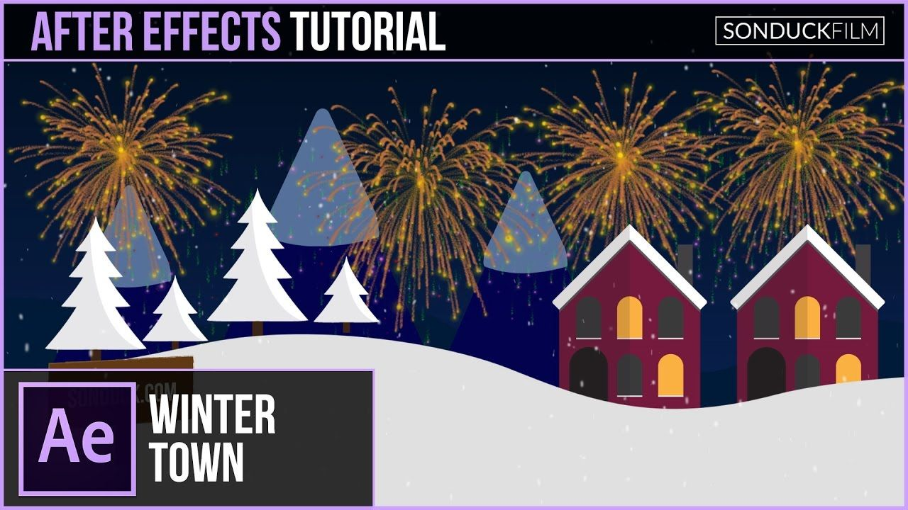 maxresdefault 9 13 - 圣诞小镇动画场景After Effects Tutorial CHRISTMAS TOWN Animation Scene with Illustrator