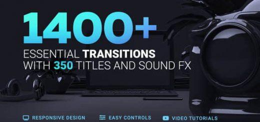 1400 Transitions 520x245 - AE 1400种摄像机推拉缩放切割干扰破损图形水墨炫光视频转场