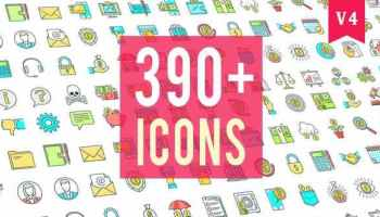preview V4 color - AE模板330个动画图标设计开发营销教育科学电子商务市场金融