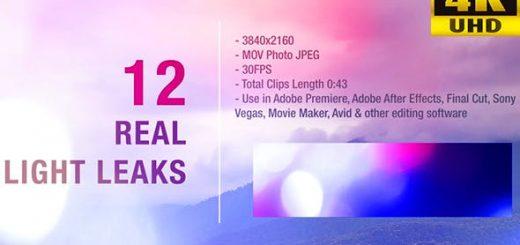 12 Light Leaks 4K 520x245 - 4K视频素材-12个漂亮柔美镜头炫光动画